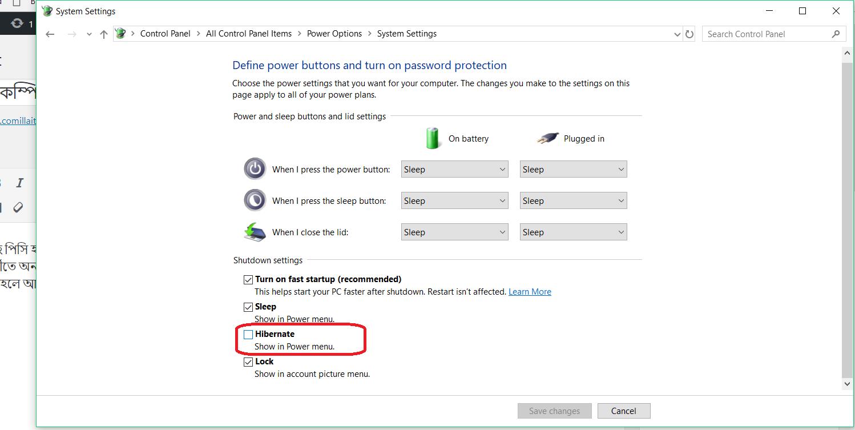 Hibernate option in PC