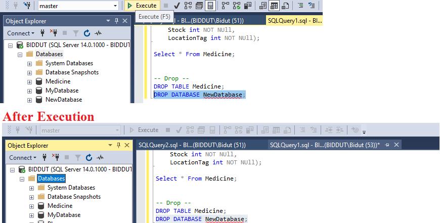 Drop Database MSSQL Server,SQL DROP Statement ডেটাবেজ Delete করার জন্য