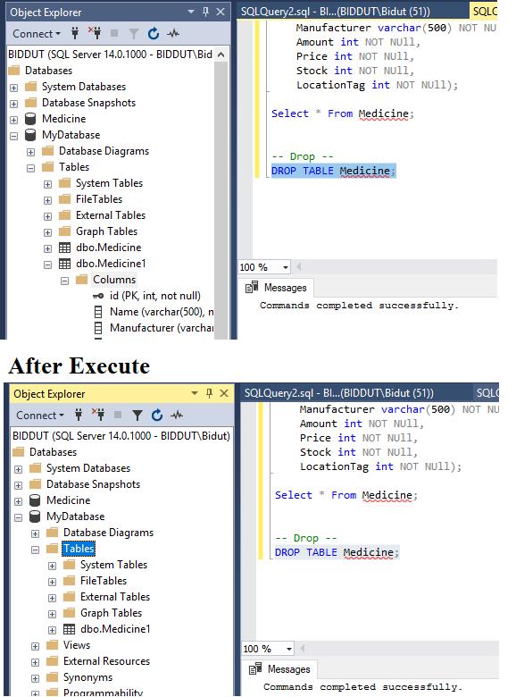 Drop Table MSSQL Server,SQL DROP Statement টেবিল Delete করার জন্য